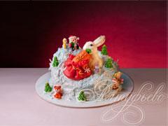 Новогодний торт «Кролик раздает подарки»