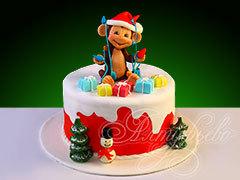 Новогодний торт  «Обезьянка с гирляндой»